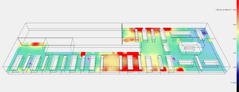 Nachhallzeiten simuliert in 3D Ansicht
